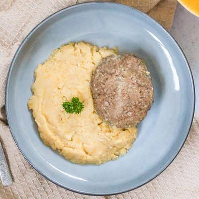 Steak haché sauce poivre purée de pomme de terre butternut Bio