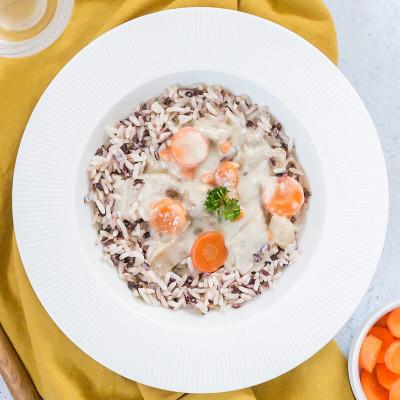 Veau aux girolles et son riz