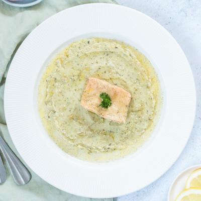 Saumon mariné purée de courgettes et pommes de terre