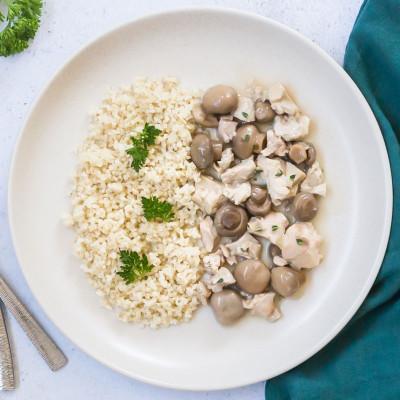 Poulet sauce aux champignons et son boulghour