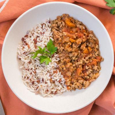 Boeuf façon tomates farcies et duo de riz