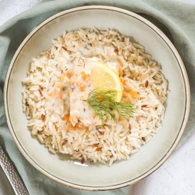 Pavé de saumon sauce aneth et ses riz