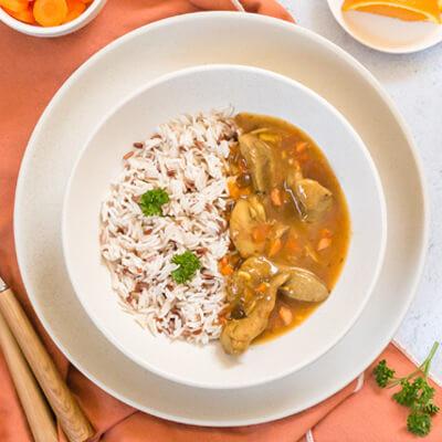 Aiguillettes de canard sauce aux zestes d'orange, duo de riz