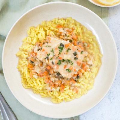 Filet de merlu sauce citron et son riz